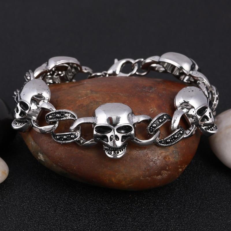 High Quality Biker Man Skull charms Bracelet