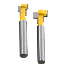2Pcs 3/8'' & 1/2'' T-Slot Cutter 1/4'' Shank Steel Handle Router Bits For Woodworking Tool 1pcs 1 4 8mm 1 2 shank top quality t slot