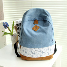 RU&BR Fashion Backpack Bag Lace With Floral Pattern Denim Canvas Shoulders Bag Women School For Teens Lady Girl School Backpack