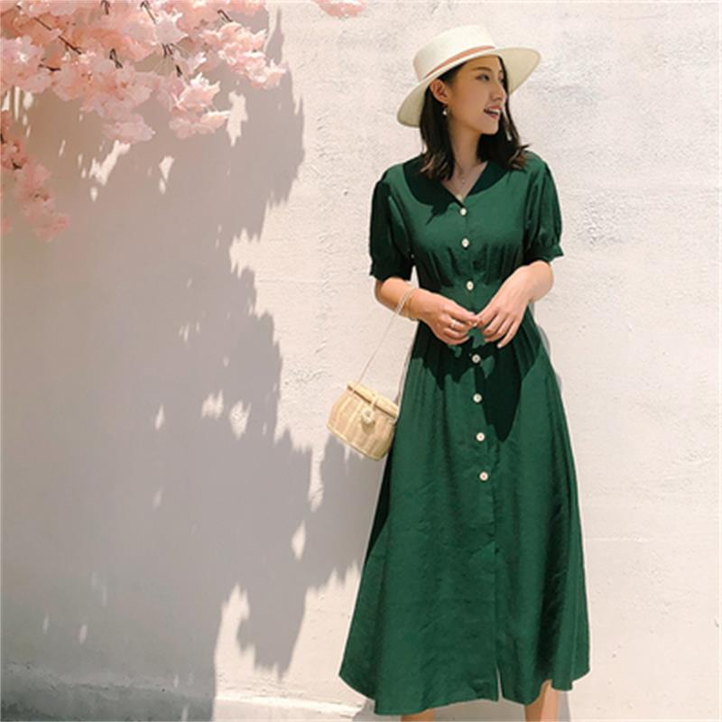 Fashion green dress female New high quality summer linen retro temperament long short sleeved cotton shirt dress women