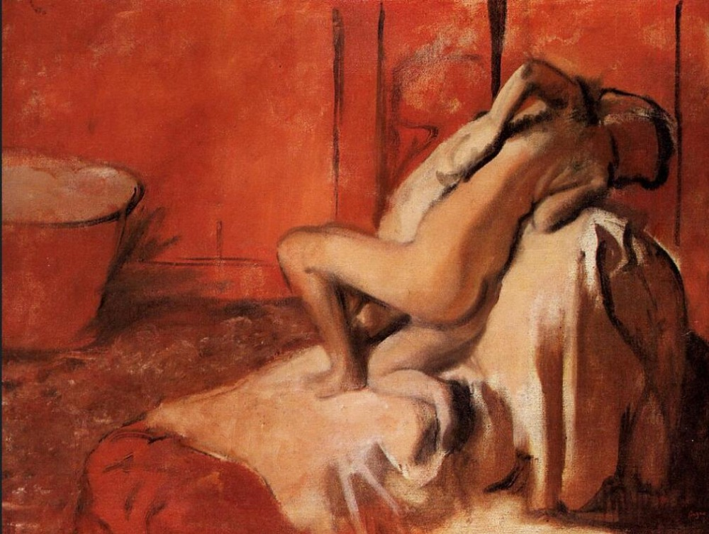 High quality Oil painting Canvas Reproductions After the Bath (1896)  By Edgar Degas hand paintedHigh quality Oil painting Canvas Reproductions After the Bath (1896)  By Edgar Degas hand painted