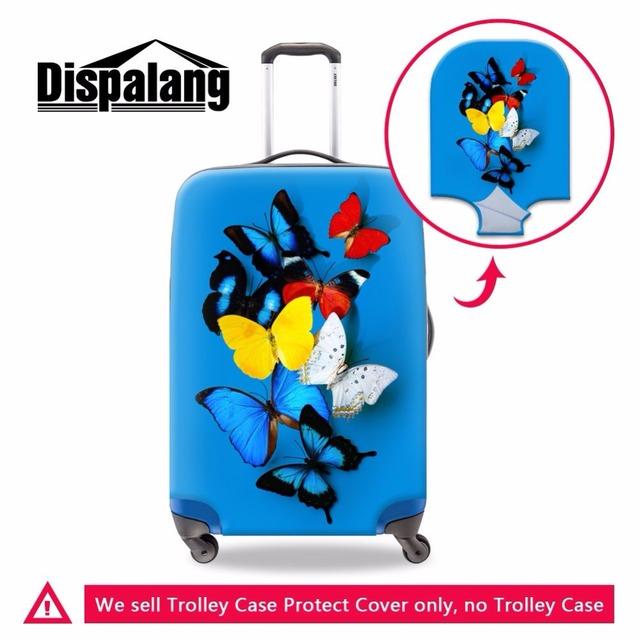 Do projeto da borboleta de impressão 3D cobertura de bagagem de viagem mala capa protetora à prova d' água portátil de espessura elástica trecho cobertura de bagagem
