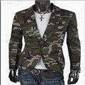 Inglaterra estilo Camuflaje Hombres Traje chaqueta de un botón Delgado de La Manera hombres del algodón blazers outwear verde Del Ejército