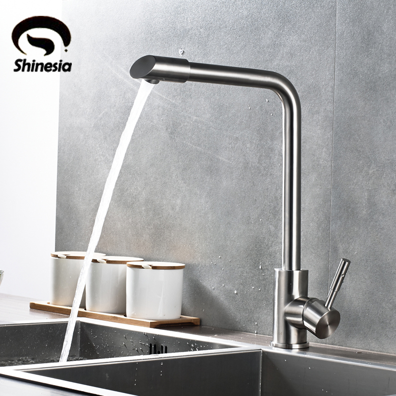 цена на Nickel Brushed Kitchen Sink Faucet Stainless Steel 360 Degree Rotating Swivel Spout Mixer Tap with Hot and Cold Water
