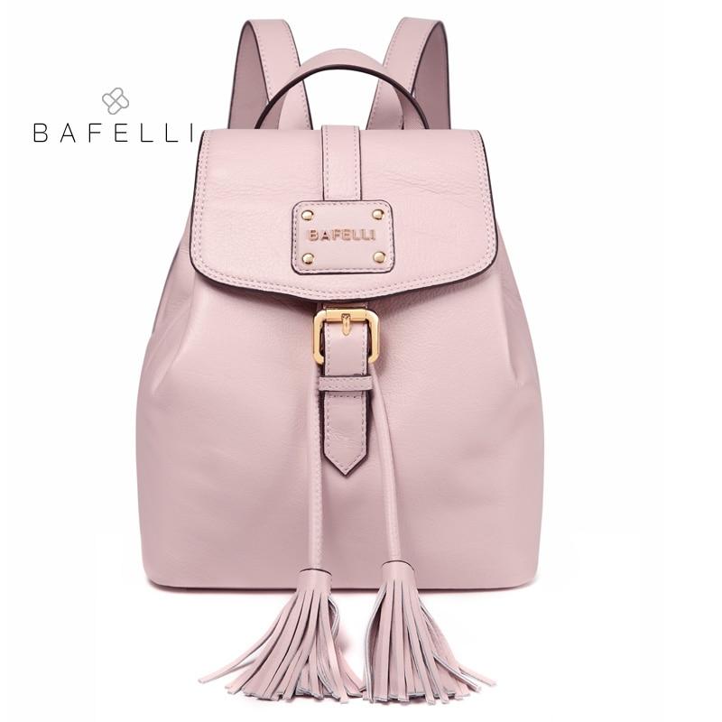 BAFELLI small backpack Genuine Leather drawstring tassel pink mochilas  mujer travel bag teenagers girls school backpack women e756f3ce6014f
