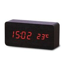 Digital Multi-function Alarm Clock Sound Control Wood Outdoor Temperature LED Display Desktop Table Clocks
