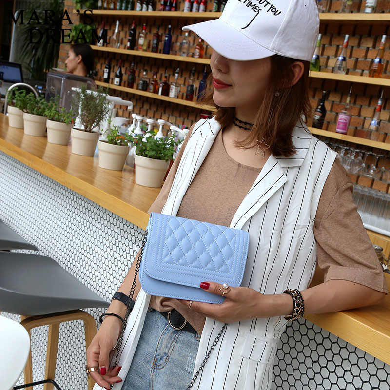 Mara's Dream 2019 женская сумка-мессенджер из искусственной кожи, клетчатая женская сумка через плечо с цепочкой, модная сумка конфетного цвета для покупок