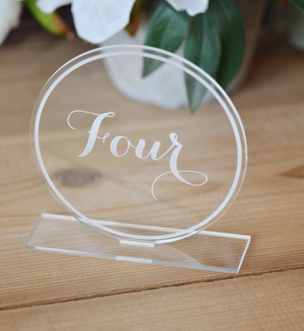 Clear Acrylic Wedding Table Numbers wedding Table decoration  Calligraphy Numbers acrylic rectangle table standing