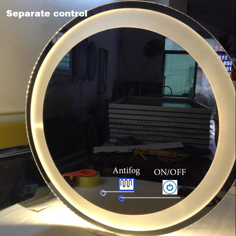 Customized Size LED Mirror Toilet Smart Bathroom Mirror Round vanity Makeup Mirrors Wall Touch Screen Control Anti fog Bluetooth 1
