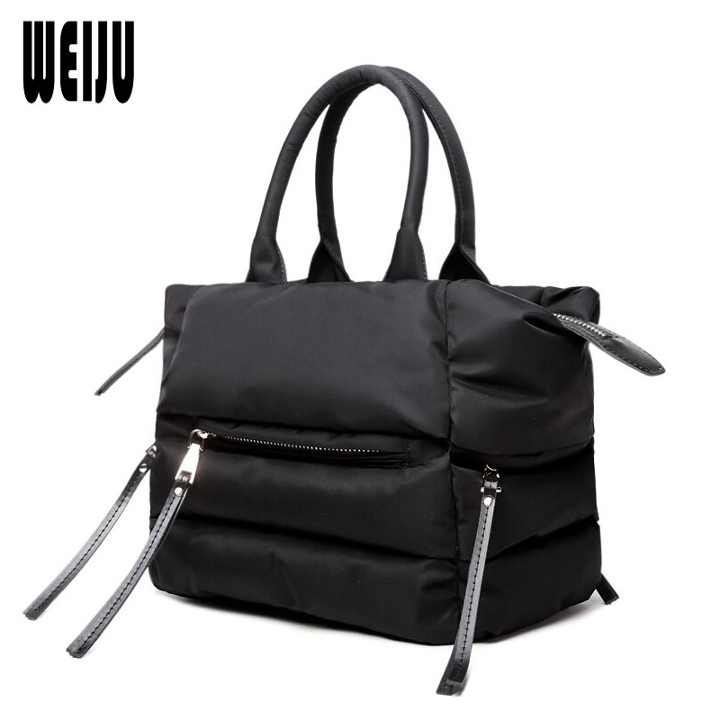 WEIJU 2018 New Winter Women Handbags Woman Casual Space Cotton Totes Bag Down Feather Padded Lady Shoulder Crossbody Bags