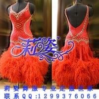Latin Dance Wear Tango Salsa DMC Stones New Competition Fringe Latin Dance Dress Salsa Dress Ballroom