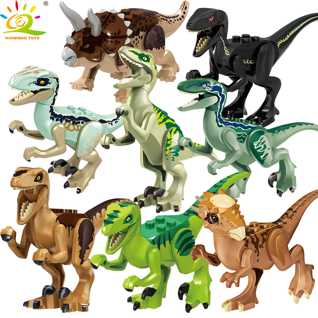 HUIQIBAO TOYS 8PCS Dinosaur park Rex Blue figure Building Blocks for Children Jurassic city World Brick set