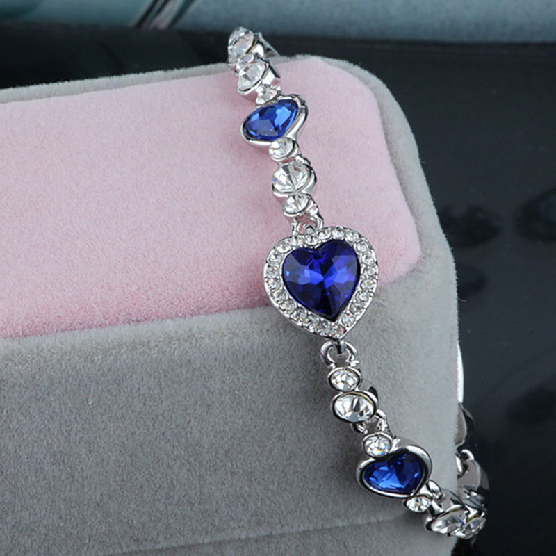 1 pcs Fashion Women Ocean Blue Crystal Heart Bangle Bracelet Exquisite  Wedding Party Bracelet For Women Hot Gift-in Chain   Link Bracelets from  Jewelry ... 2a4da19651bc