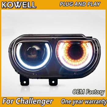 Car Styling for Dodge Challenger LED Headlight 2011-2014 Challenger LED DRL+Dynamic turn signal Bi-Xenon headlight Accessories