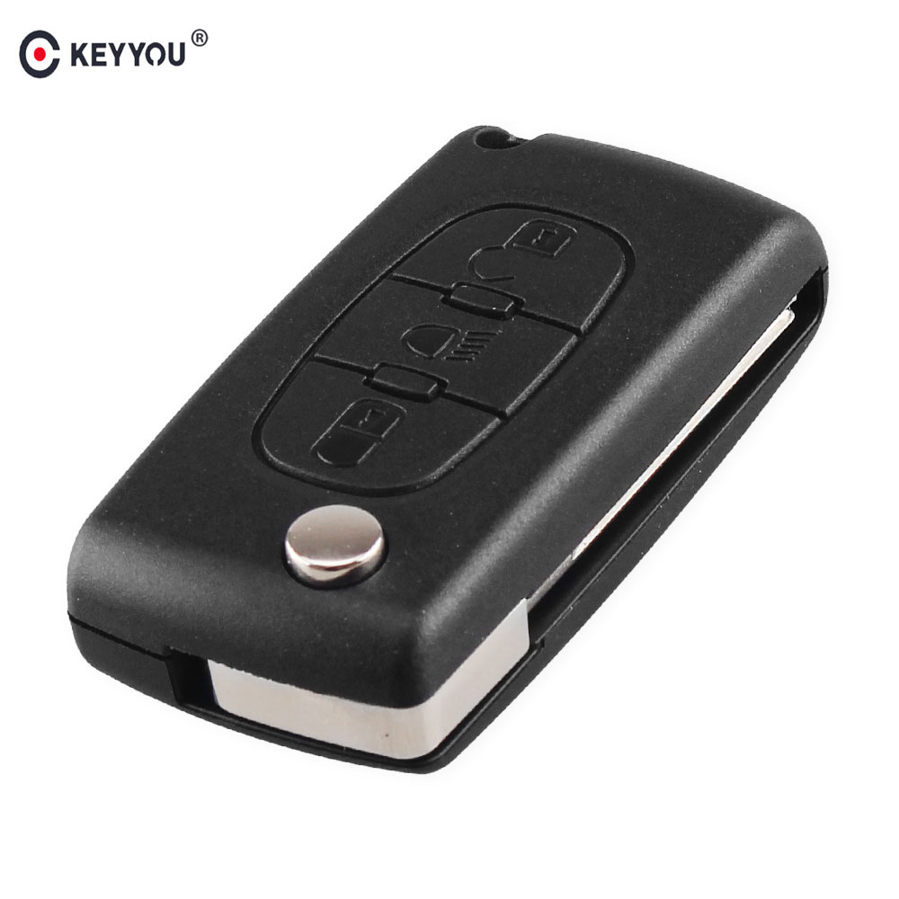 KEYYOU Light Symbol 3 Button Flip Folding Car Key Shell For PEUGEOT 107 207 307 308 406 408 Remote Key Fob Case Cover image