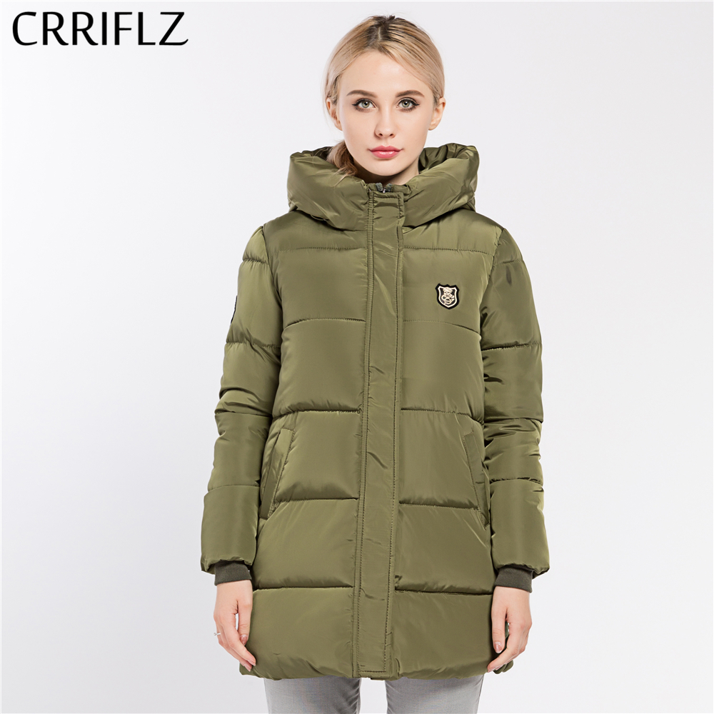 CRRIFLZ New Winter Collection Women's Jackets   Parkas   Hooded Long Cotton Padded Jacket High Quality 8 Color Warm Thick Coats