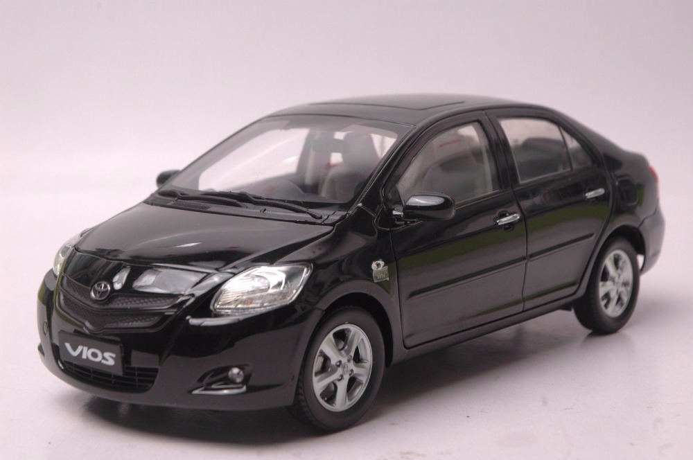 1:18 Diecast Model For Toyota Vios 2008 Black Sedan Alloy Toy Car Miniature Collection Gift