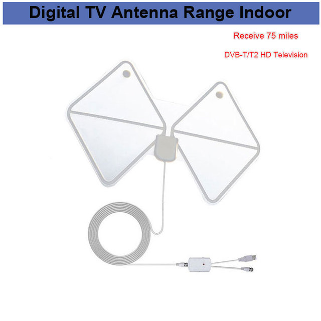 Amplified Indoor Hdtv Antenna 75 Miles Range Digital Tv Antenna
