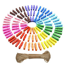 Mini Natural Wooden Clothespins Photo Paper Peg Pin Craft Clips with Twine for Home School Arts Crafts Decor 100 Pieces