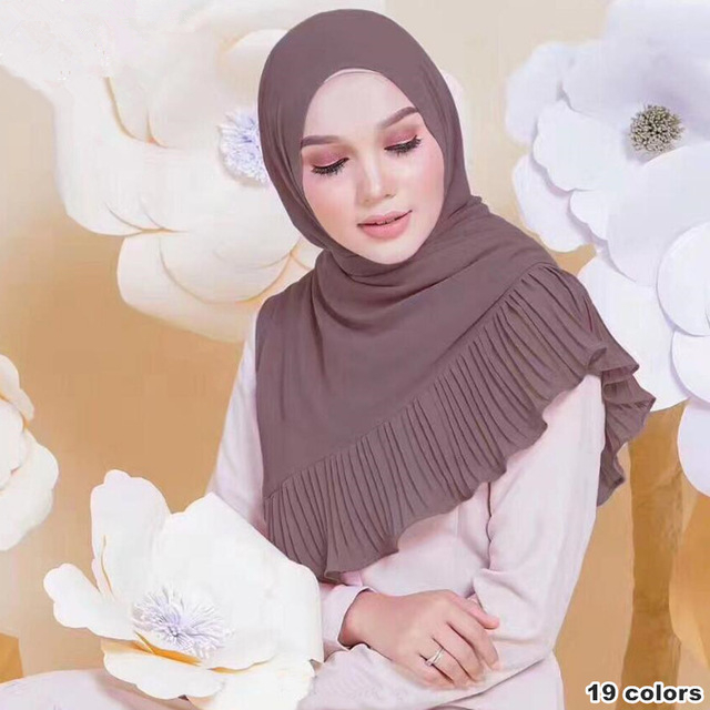 180*73cm 19 color Patchwork bubble chiffon Wrinkle shawls edges soft hijab summer drape stitching muslim Muffler scarves/scarf