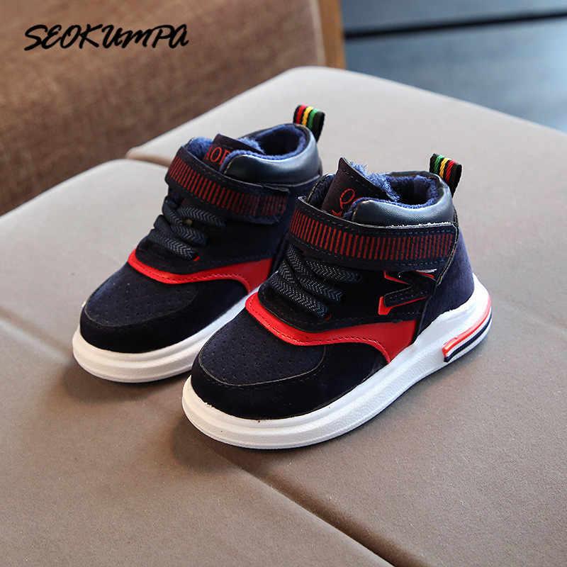 Новинка; зимняя хлопковая обувь для маленьких девочек и мальчиков; светильник; Повседневная обувь; детская спортивная обувь на полиуретановой подошве; уличные кроссовки для детей