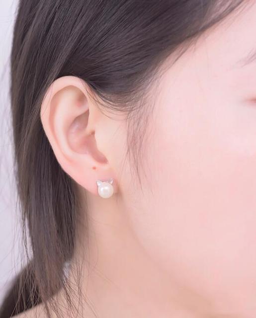 Pearl Cat Stud Earrings 2