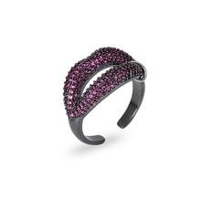 XIUMEIYIZU Rose cz stones Red Lip Ring Trendy Women's Jewelry Sexy Cubic zirconia finger rings Wedding Engagement Jewelry Gift