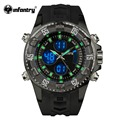 INFANTRY Men's Luminous Quartz Wristwatch LED Digital Sport Watches Black Silicone Strap Gift Watch Relojio Male Clock