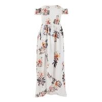 TFGS Women Off The Shoulder Bohemian Summer Long Maxi Dress New Split Floral Printed Beach Dresses