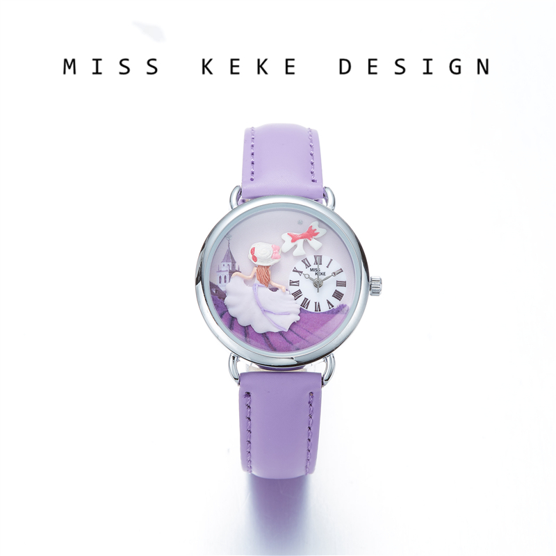 Miss Keke 2018 New Design Clay Cute Geneva Small Size 32mm Dress Girl Watches Children Women Present Purple Princess Lavender636Miss Keke 2018 New Design Clay Cute Geneva Small Size 32mm Dress Girl Watches Children Women Present Purple Princess Lavender636