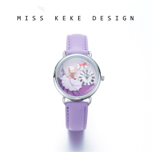Miss Keke 2018 New Design Clay Schattig Geneva Small Size 32mm Jurk Meisjeshorloges Kinderen Dames Paars Prinses Lavendel