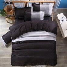 TENG BI brand hot stripe simple fashion design bedding set Reactive printing black purple King Queen Full Twin szie