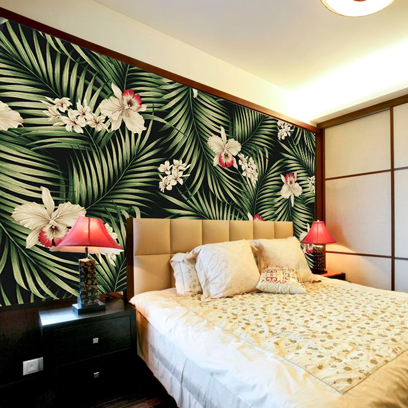 Large Murals Of Tropical Plant Wallpaper Thailand Style Green Banana Leaves And Fl Non Woven 1x3m Living Room Wall Paper In Wallpapers From Home