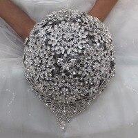 Super Luxious Diamond Brooch Bouquet for Wedding ,Quality assurance Durable Heavy Drop Rhinestone Bride Bouquet Accept Custom