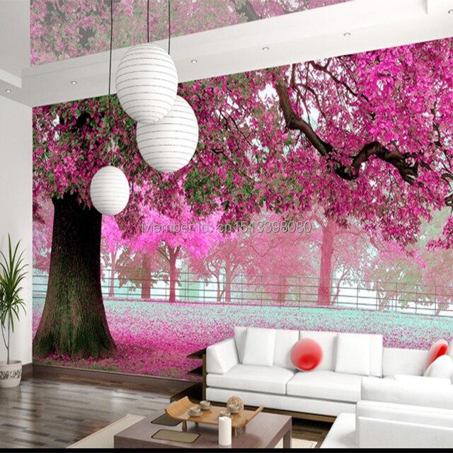 3D mural rusticTV background bedroom wall wallpaper Cherry tree ...