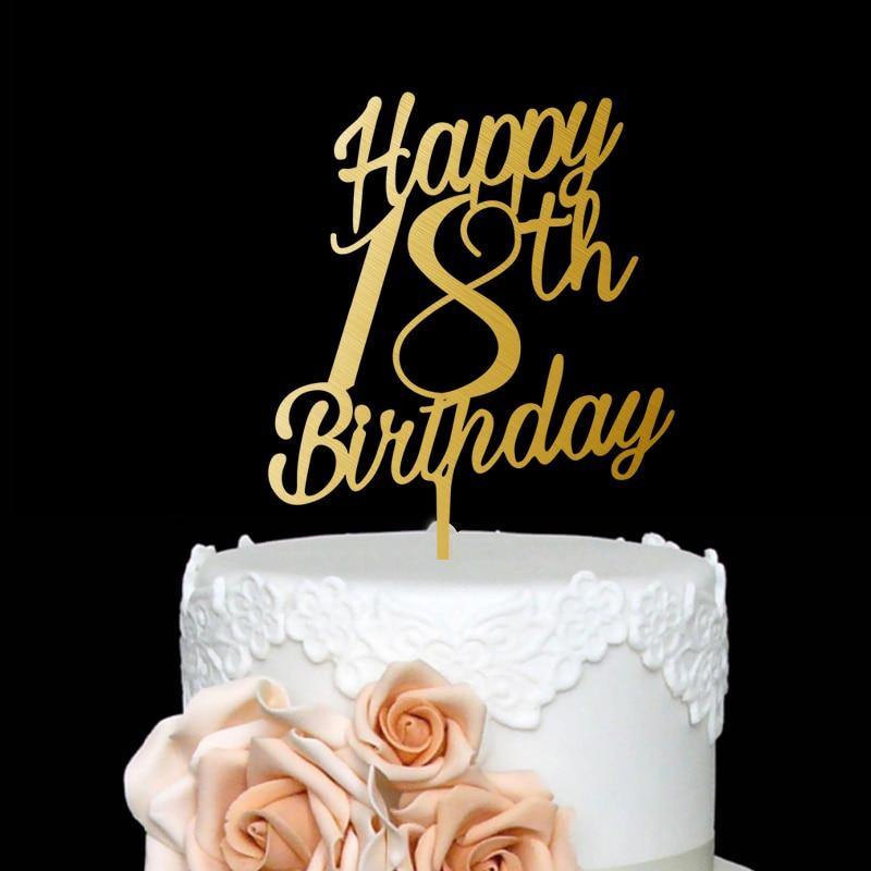 Personalized Custom Happy Birthday Cake Topper Party Decorations Celebration 18Birthday Acrylic Real