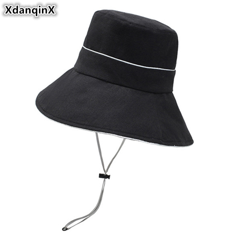 XdanqinX 2019 Summer New Womens Bucket Hats Ladies Oversized Sun Visors Beach Hat Foldable Adult Women Sunscreen Cap