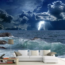 Custom 3D Mural Wallpaper Roll Sea Clouds Lightning