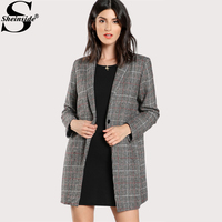 Sheinside Plaid Boxy Coat 2017 Single Breasted Long Sleeve Work Outer With Pockets, Button ,Lining Women Elegant Outer