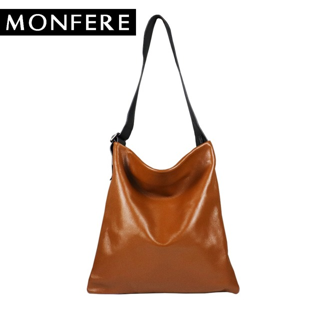9cc75cfef194 MONFERE real genuine leather bag casual hobo soft skin cowhide shoulder bags  leisure large luxury handbags women bags designer
