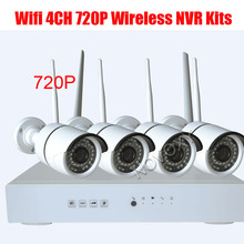 4CH Plug and Play Wireless NVR Kit P2P 720P HD Outdoor IR Night Vision Security IP