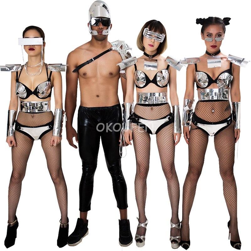 Nouveau Cool technologie futuriste parti miroir costume ensemble discothèque danseur hommes et femmes DS split costumes