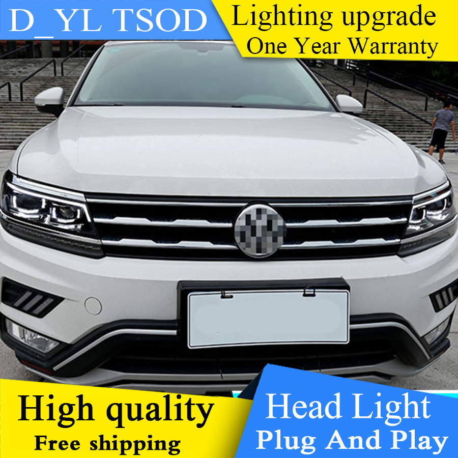 Auto part Style LED Head Lamp for VW Tiguan led headlight 2017 2018 for Tiguan drl H7 hid Bi-Xenon Lens angel eye low beam image