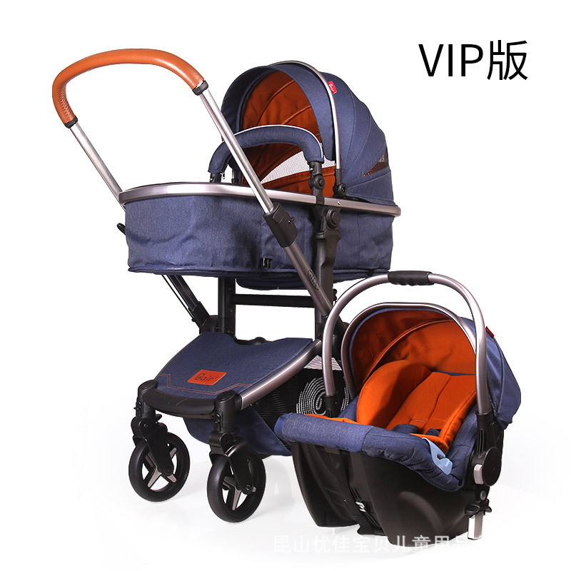 Bair baby stroller high landscape stroller with car safety seat wheel shock proof folding convenient 21 inch students scooter suitcase boy cool trolley case 3d extrusion high quality pc separable travel luggage child boarding box