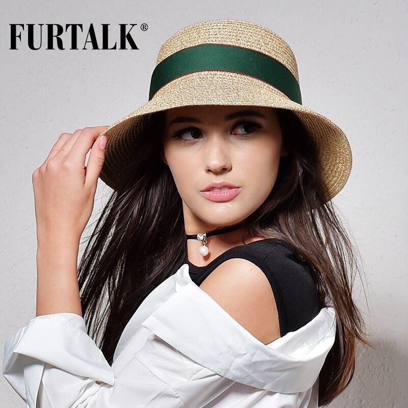 FURTALK chapeau d'été pour les femmes chapeau de paille pour la plage soleil chapeau voyage seau chapeau panama
