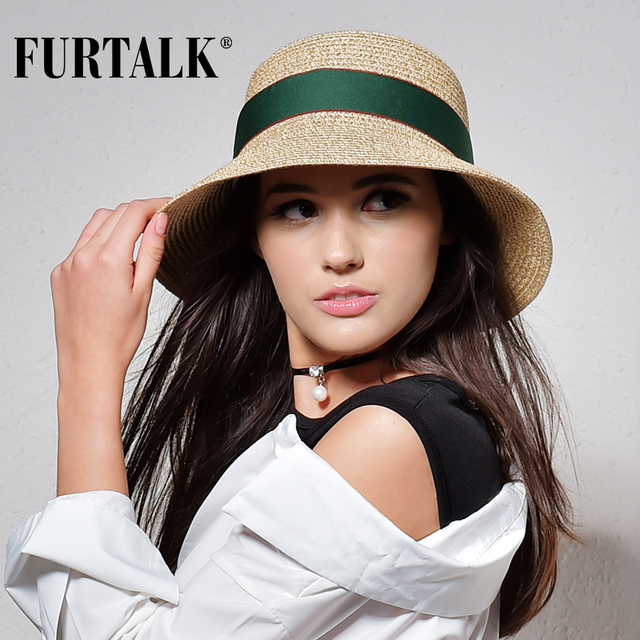 FURTALK summer hat for women straw hat for beach sun hat travel bucket hat panama