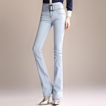 #3059 High Waist Slim Fit Flare Jeans Women With Belt Full Length Skinny High Quality Spring 2019 Vintage Bell Bottom Jeans high waist jeans with belt