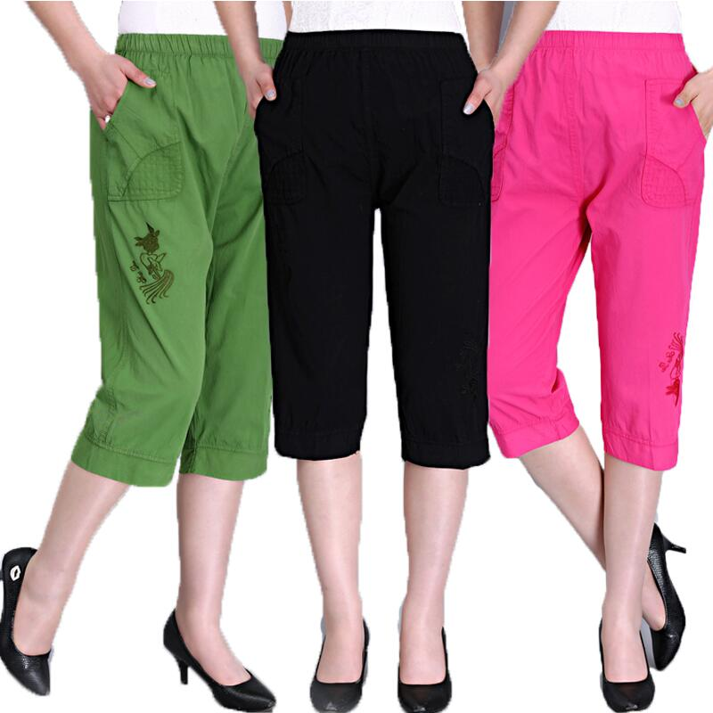 2019 Summer Women Casual   Pants     Capris   Female High Waist Cotton   Pants   Plus Size Straight   Pants   Women S364
