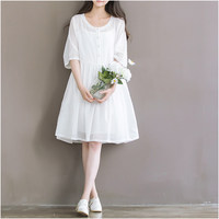 Summer Chiffon Dress White Color High Waist Women Dress Half Dress O Neck Cute Two Pieces