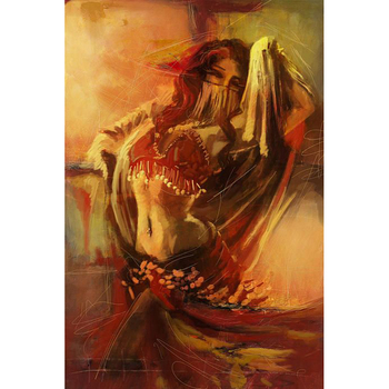 Hand Painted Show Palette Knife Indian Sexy Women Dance Lady Dress Red Skirt Portrait Oil Painting